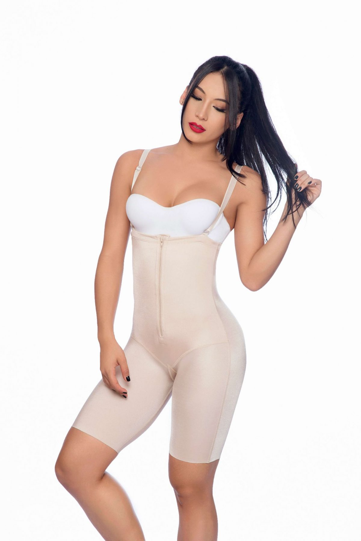 Long body shaper with suspender straps